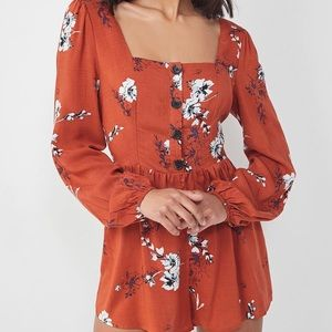 Urban Outfitters Floral Square-Neck Romper
